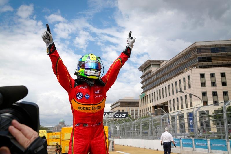 Lucas di Grassi celebrates his win at the Putrajaya ePrix