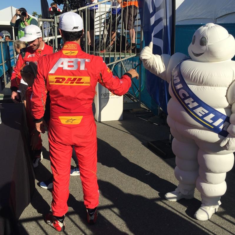 Long Beach ePrix Lucas di Grassi winner thumbs up Michelin Man